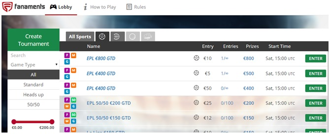Fantasy Football Portal - Lobby example